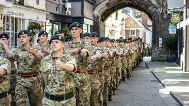 Members of the armed forces marched through Salisbury city centre