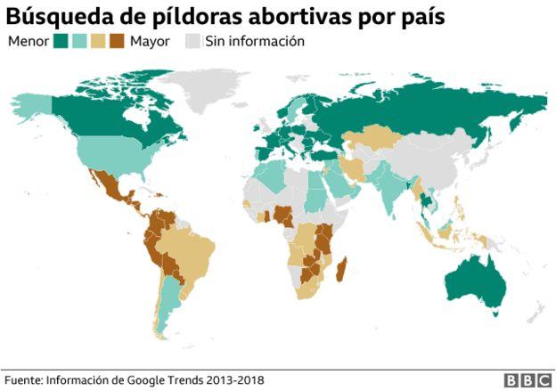 Mapa búsqueda pildoras abortivas por país