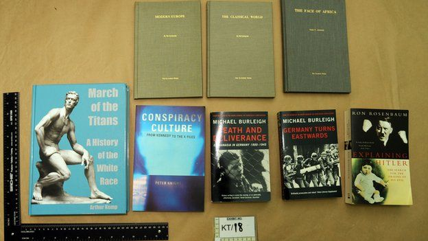 West Yorkshire Police handout photo of books found in the home of Thomas Mair