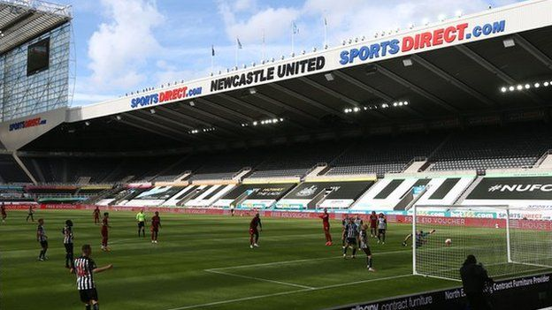 A general view of St. James' Park stadium as Newcastle play a Premier League match against Liverpool behind closed doors