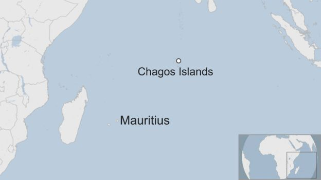 Map shows the Chagos Islands and Mauritius