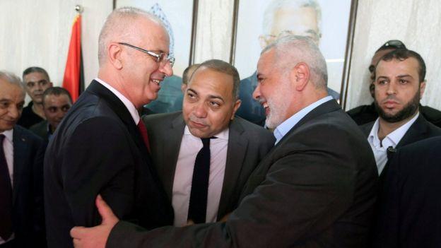 Filistin Yönetimi Başbakanı Rami Hamdallah ve Hamas ideri İsmail Haniye