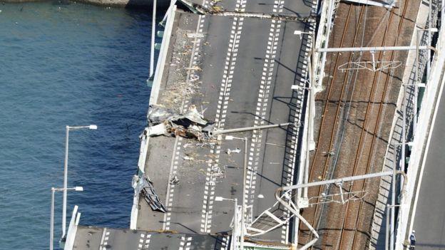 Aerial photo of damaged bridge