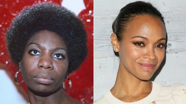 Left to right: Singer Nina Simone and actress Zoe Saldana