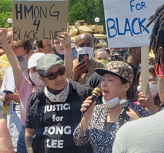 Youa Vang Lee at protest