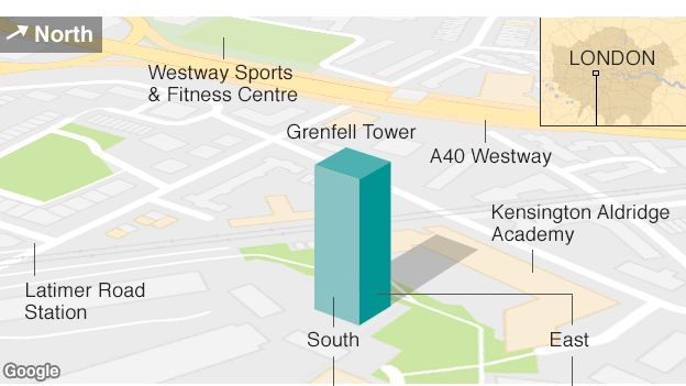 Map showing the location of Grenfell Tower