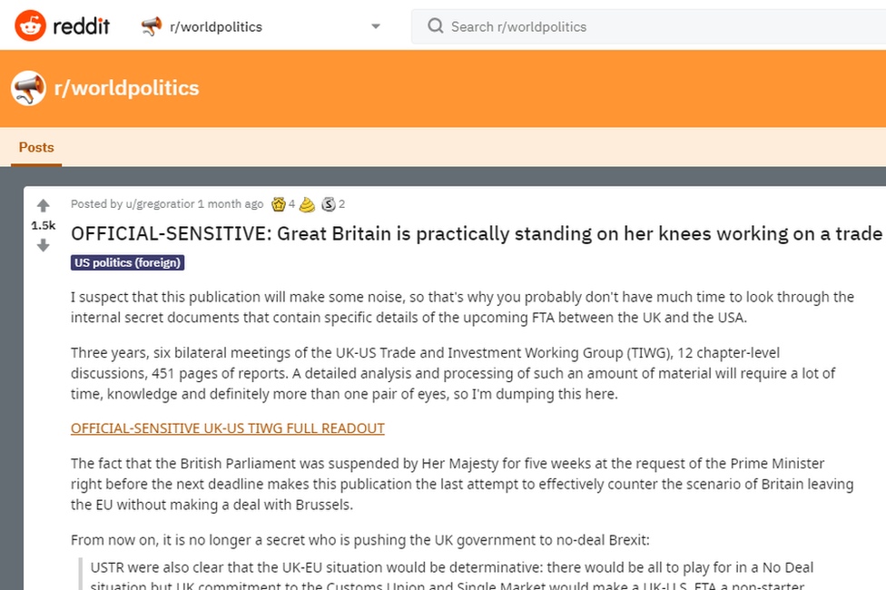 """A picture of the post with the headline """"OFFICIAL-Sensitive"""". The first line reads: """"I suspect that this publication will make some noise, so that's why you probably don't have much time to look through the internal secret documents that contain specific details of the upcoming FTA between the UK and the USA."""""""