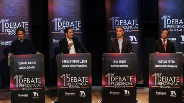 Debate presidencial en Colombia.