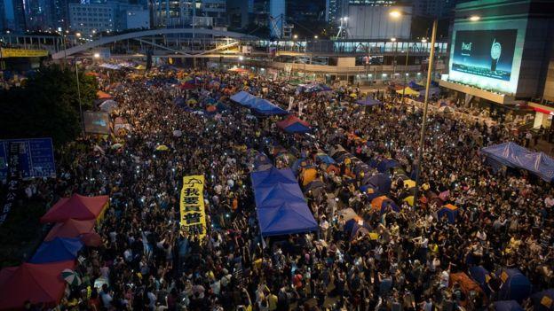 占中时的金钟占领区(28/10/2014)