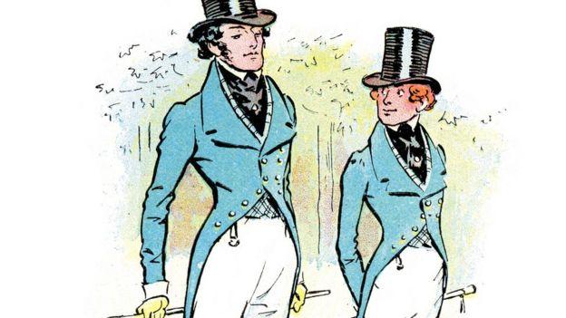 Ilustração mostra dois homens com figurino dândi