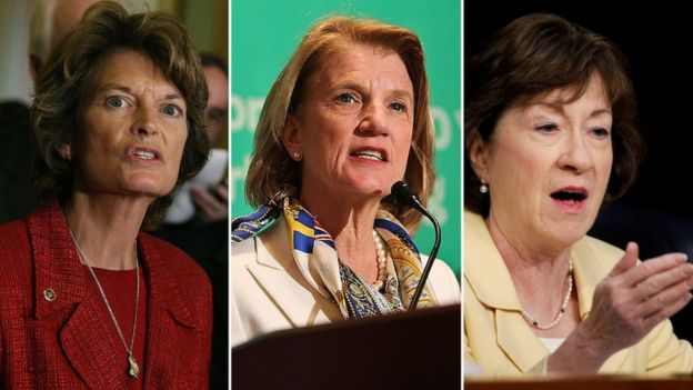 Republican Senators Lisa Murkowski of Alaska, Shelly Moore Capito of West Virginia and Susan Collins of Maine are seen in this composite photo.