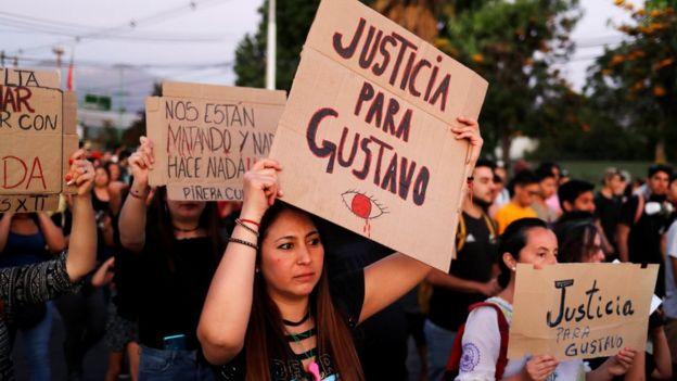 Manifestación en La Colina, Chile, 10 de noviembre de 2019.