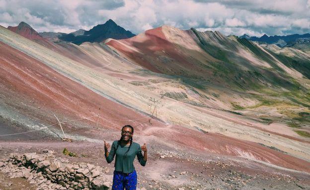 Jessica Anyan-Brown visits Vinicunca mountain in Peru.
