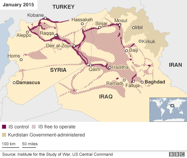 Map showing areas of IS control in Iraq and Syria in January 2015