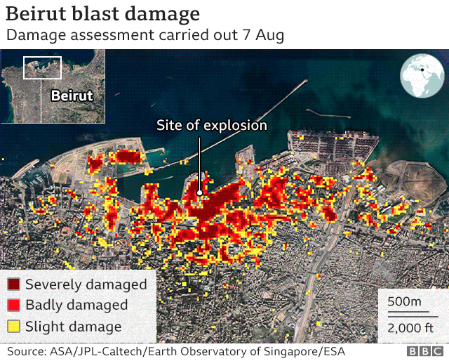 Nasa damage assessment following 4 August 2020 explosion in Beirut