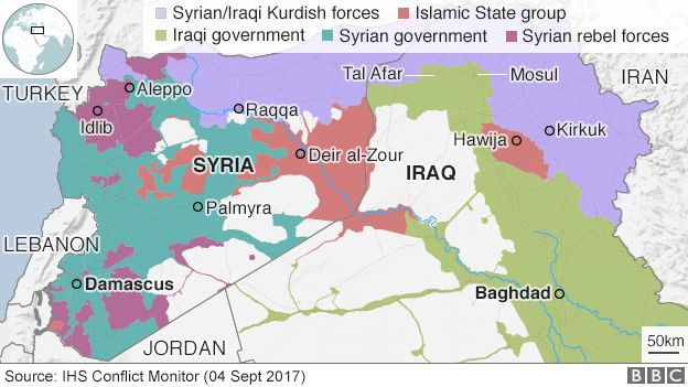 Map showing who controls different parts of Iraq and Syria, 4 Sept 2017