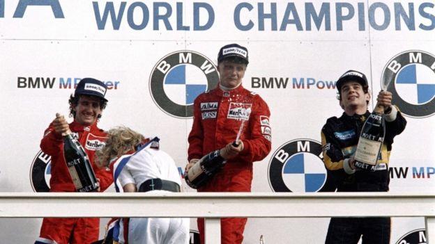 Niki Lauda cuando ganó la Fórmula 1 en 1985.