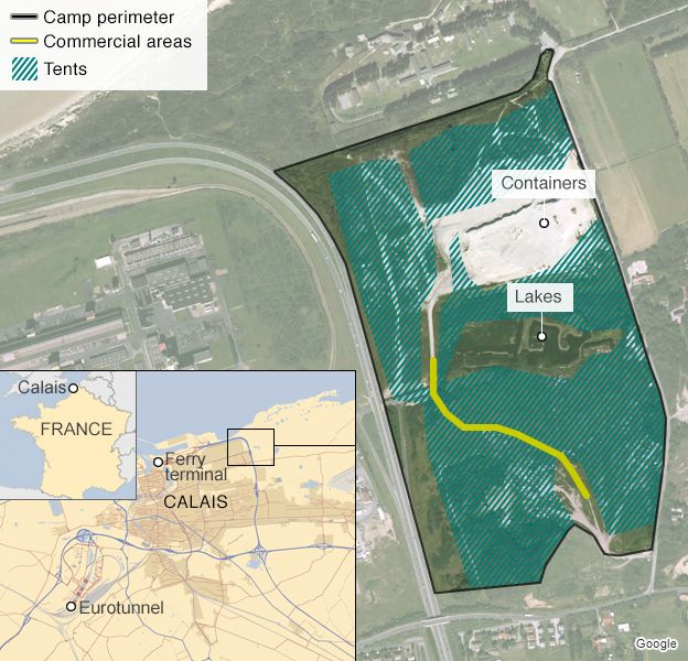 Calais jungle map showing location of new containers