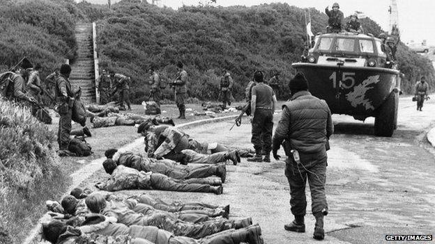 British troops surrender during the Falklands conflict