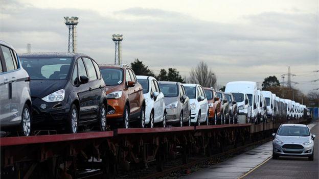 Cars on a train
