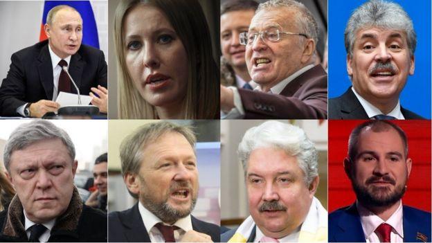 Collage de los 8 candidatos a la presidencia de Rusia.