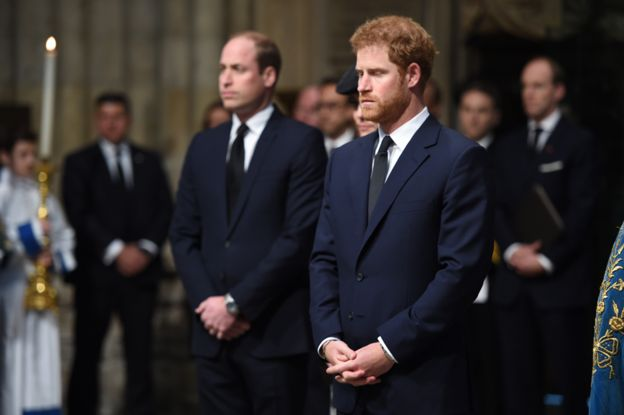 Prince Harry and Prince William at the Service of Hope in Westminster Abbey