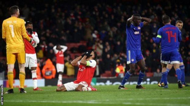 Mechi kati ya Arsenal na Olympiakos iliochezwa katika uwanja wa Old Trafford