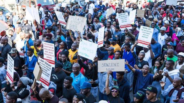 Hundreds of people march from Church Square to the Union Buildings in Pretoria, South Africa. 20 May 2017