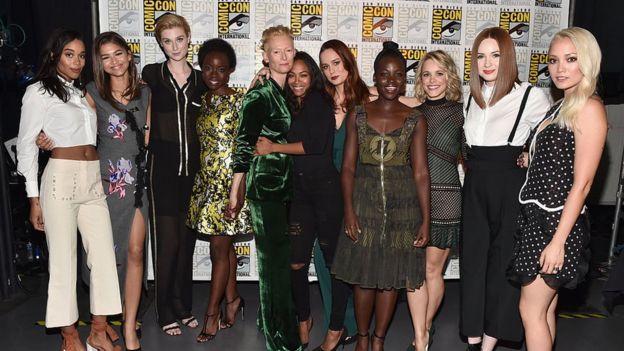 Actresses Laura Harrier, Zendaya, Elizabeth Debicki, Danai Gurira, Tilda Swinton, Zoe Saldana, Brie Larson, Lupita Nyong'o, Rachel McAdams, Karen Gillan and Pom Klementieff