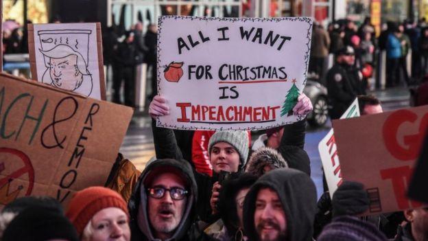 Protestas en Nueva York a favor del impeachment