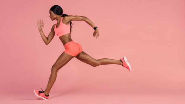 Woman running with determination.