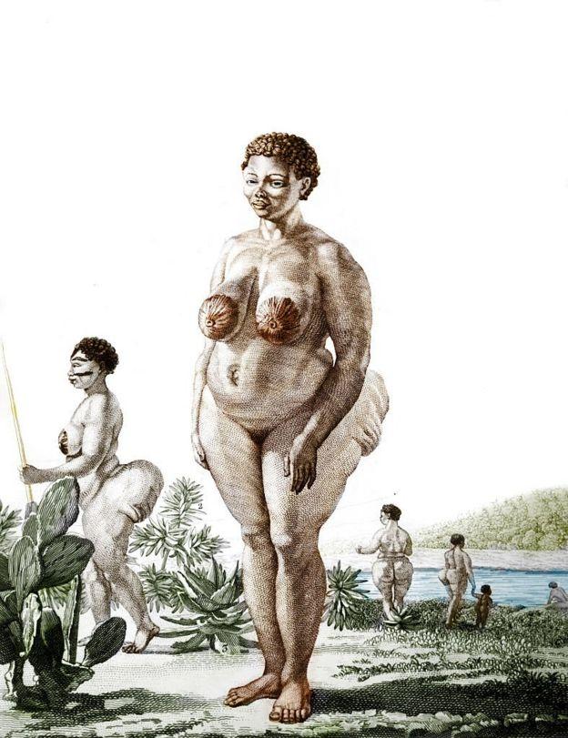 """Une illustration de la """"Vénus Hottentot"""" de 1815"""