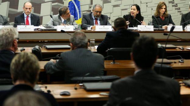 Audiência pública na Comissão Parlamentar de Inquérito (CPI) da Previdência no Senado, em maio