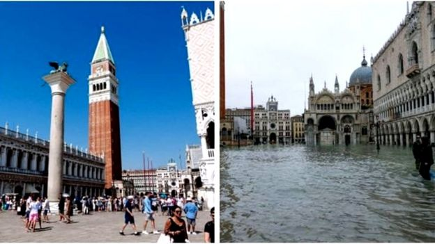 聖馬克廣場被淹前後的對比
