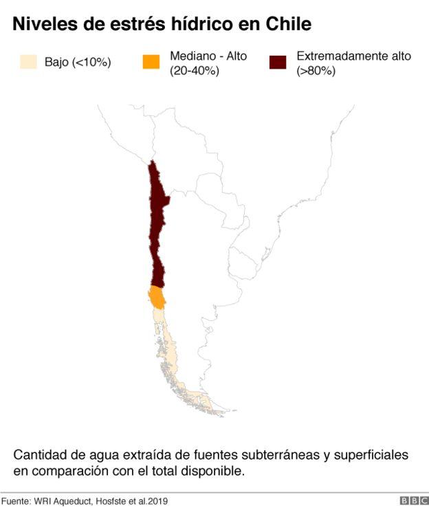 Mapa estrés hídrico Chile.