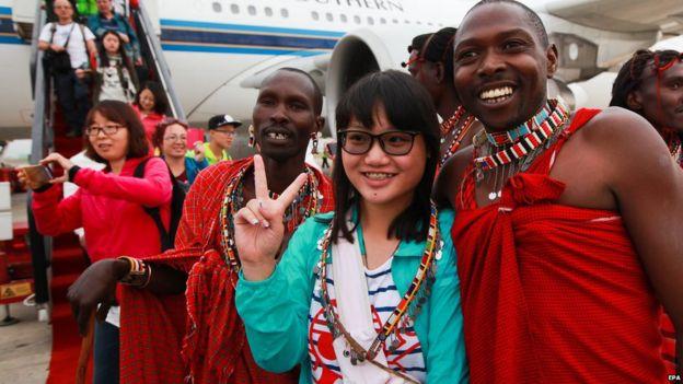 Chinese tourists at Nairobi airport - 2015