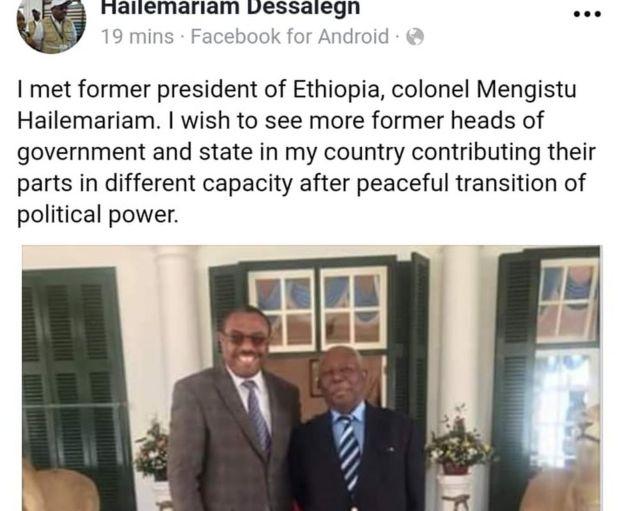 Hailemariam Desalegn ayaa qoraalkiisa ku sheegay in Mengistu uu wax ku kordhinayo Itoobiya