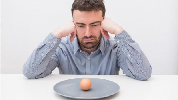 Hombre con un plato vacío