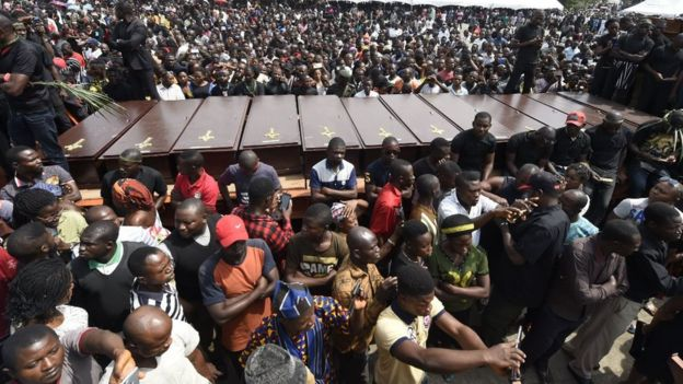 Coffins arrive at Ibrahim Babanginda Square in the Benue State capital Makurdi, on January 11, 2018