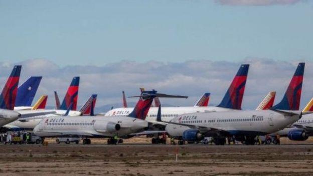 La industria de la aviación en Estados Unidos está prácticamente colapsada.