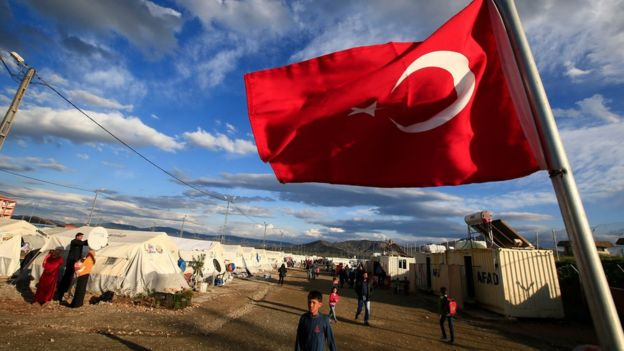 Refugee camp in the Turkish city of Gaziantep, next to the Syrian border