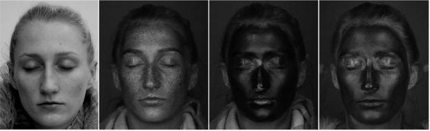 Sequência de fotos mostrando a aplicação do filtro solar e de hidrantes com protetor sob luz UV