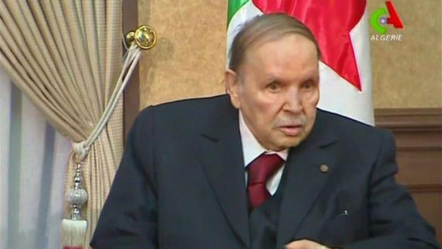 Cezayir Cumhurbaşkanı Abdülaziz Buteflika'nın, 11 Mart 2019'da Canal Algerie kanalındaki görüntüsünden alınan ekran fotoğrafı