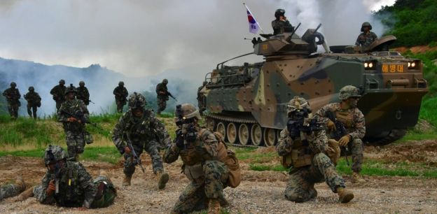 US and South Korean troops conduct training drills in South Korea (file image)