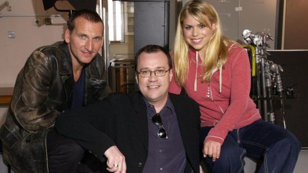 Russell T Davies with Doctor Who actors Chrisopher Ecclestone and Billie Piper in 2004