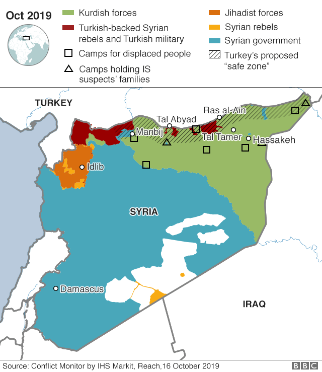 Map showing control of north-east Syria on 16 October 2019