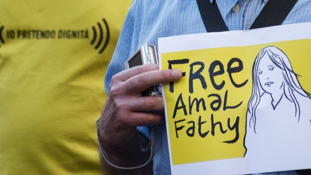 Rights activists hold a demonstration for the release of Amal Fathy. File photo
