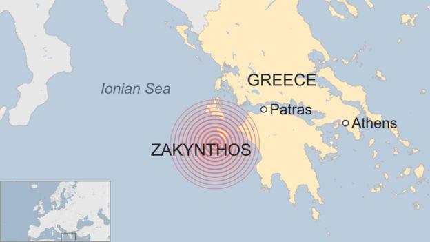 map of Ionian Sea after Zakynthos quake