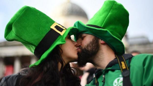 e0f4e448646 Couple Image copyright Victoria Jones Image caption A couple kiss during  the St Patrick's Day celebrations ...