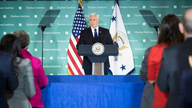 "US Vice President Mike Pence addresses the Hudson Institute on the administration""s policy towards China in Washington, DC, on October 4, 2018. - Pence on Thursday accused China of seeking a change of power in the White House, stepping up allegations of electoral interference. (Photo by Jim WATSON / AFP)JIM WATSON/AFP/Getty Images"